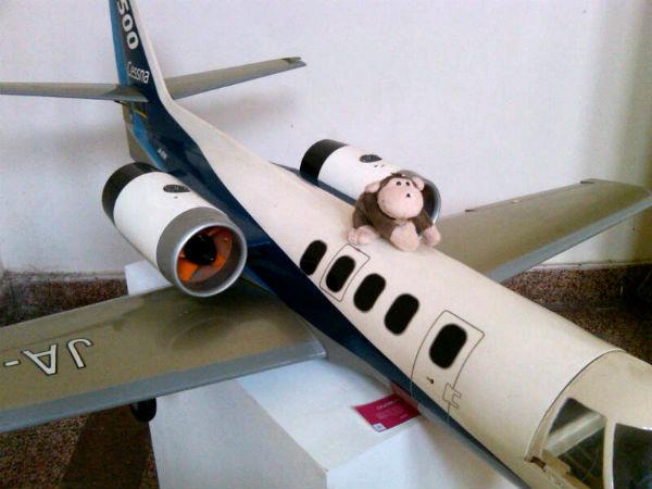 Kali ini Mulyadi bertengger di atas model yang nampaknya adalah regional jet, masih buatan para mahasiswa tadi.