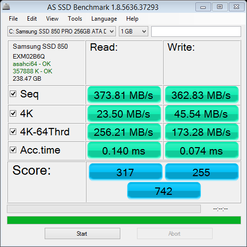 AS SSD Benchmark Samsung 850 Pro with 3GB/s SATA